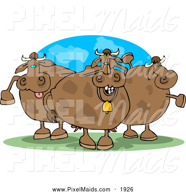 Clipart of Three Goofy Chubby Cows on Pasture