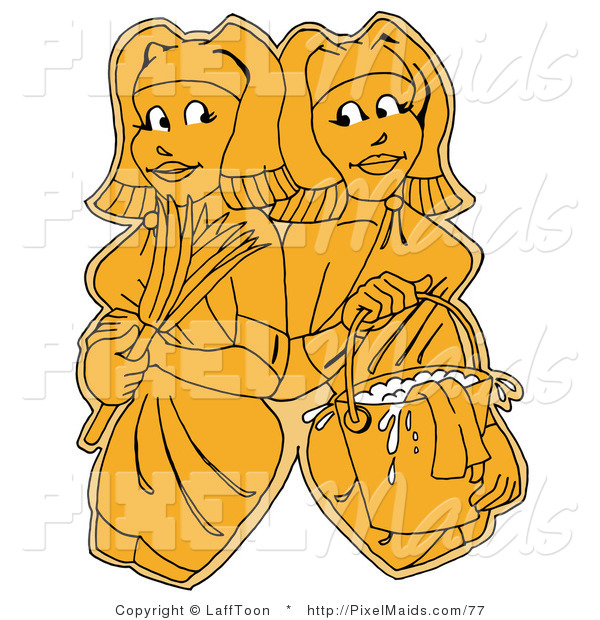 Clipart of Two Yellow Women, Maids or Janitors, Wearing Gloves and Carrying a Feather Duster and Bucket of Water, Standing Shoulder to Shoulder