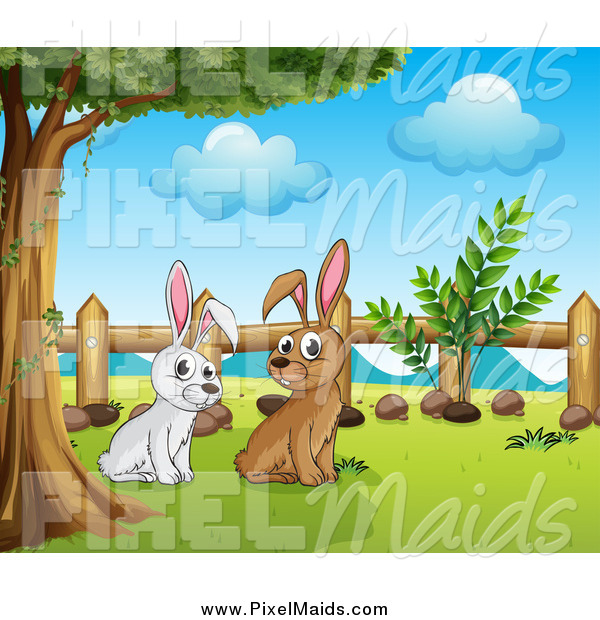 Clipart of White and Brown Bunny Rabbits Under a Tree