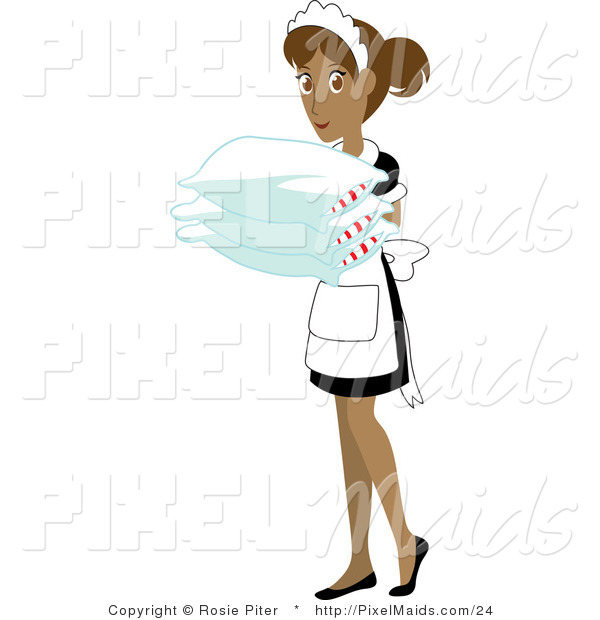 Vector Clipart of a Hispanic Maid Holding Pillows