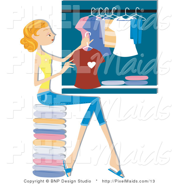 Vector Clipart of a House Wife Hanging Laundry