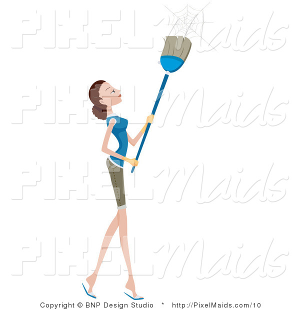 Vector Clipart of a Pretty Housewife or Maid Removing Cobwebs with a Broom