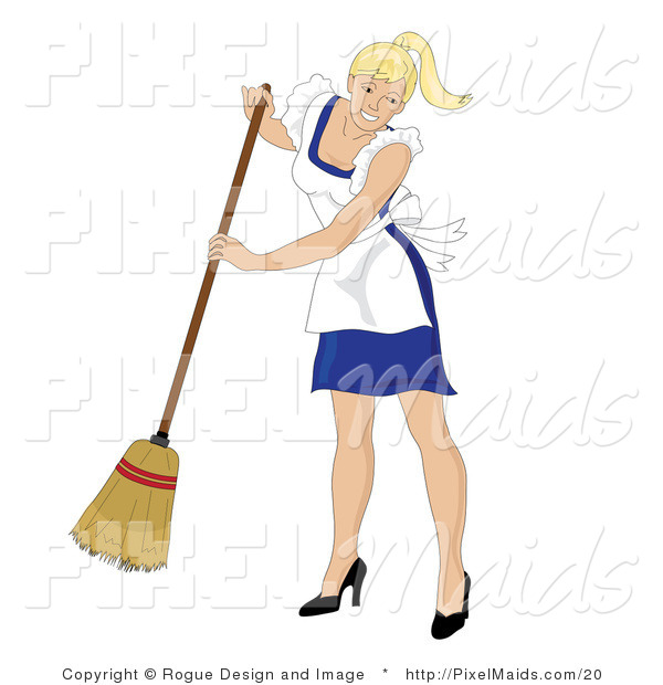 Vector Clipart of a Sweeping Blond Maid