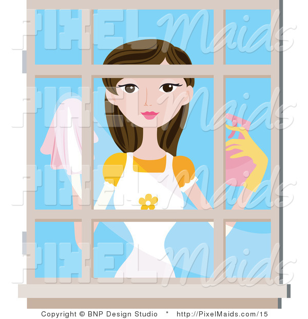 Vector Clipart of a Woman Washing Windows
