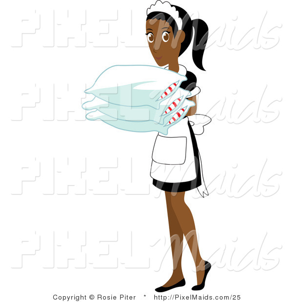 Vector Clipart of an Indian Maid Carrying Pillows