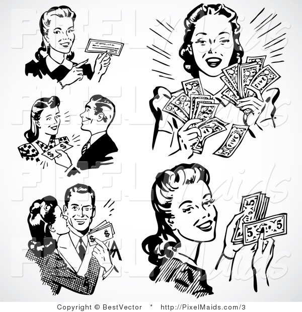Vector Clipart of Prosperous Retro People