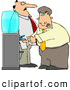 Clipart of a Annoyed Boss Keeping a Close Eye on an Employee Filling His Cup with Water by Djart