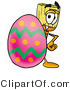 Clipart of a Broom Mascot Cartoon Character Standing Behind an Easter Egg by Toons4Biz