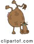 Clipart of a Brown Cow Doing Handstand by Djart