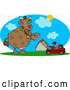 Clipart of a Brown Cow Mowing Lawn on a Hot Summer Day by Djart