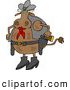 Clipart of a Brown Cowboy Cow with Two Holstered Pistols by Djart