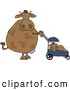 Clipart of a Brown Mom Cow Pushing Her Calf in a Baby Stroller by Djart