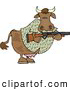 Clipart of a Camouflaged Cow Holding a Hunting Rifle, Hunting for People by Djart