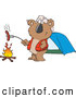 Clipart of a Cartoon Koala Roasting a Hot Dog over a Camp Fire by Toonaday