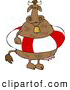 Clipart of a Chubby Cow Wearing a Life Preserver and Bell by Djart
