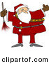 Clipart of a Chubby Santa Claus Holding a Feather Duster by Djart