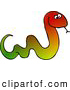 Clipart of a Colorful Snake Sticking Tongue out and Slithering Right by Djart