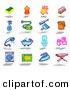 Clipart of a Digital Set of a Sponge, Soap, Glove, Brush, Spray Bottle, Vacuum, Dust Pan, Bucket, Shower, Bath, Toilet, Toilet Paper, Washing Machine, Oven, Iron, Ironing Board by NL Shop