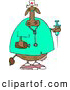 Clipart of a Female Nurse Cow Holding a Frighteningly Huge Syringe and a Bottle of Peroxide by Djart