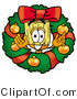Clipart of a Festive Broom Mascot Cartoon Character in the Center of a Christmas Wreath by Toons4Biz
