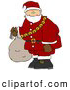 Clipart of a Friendly Santa Carrying Bag of Toys by Djart