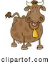 Clipart of a Happy Cow Wearing a Bell by Djart