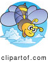 Clipart of a Happy Flying Bee by Visekart