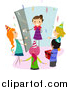 Clipart of a Happy Girl Arriving at a Surprise Birthday Party by BNP Design Studio