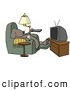 Clipart of a Lazy Funny Dog Sitting in a Recliner with a Beer, Changing TV Channels with Remote Controller by Djart