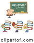 Clipart of a Male Teacher and Students Carrying Stacks of Books by Hit Toon