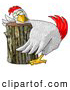 Clipart of a Oblivious Funny Chicken on a Chopping Block by Djart