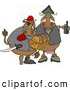 Clipart of a Pair of Brown Cow Pirates Carrying Treasure Chest and Bottle of RumClipart by Djart