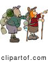 Clipart of a Pair of Hikers: a Male and Female Hikers Hiking with Backpacks, Canteens, Sleeping Bags, and Walking Sticks by Djart