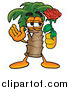 Clipart of a Palm Tree Holding a Red Rose on Valentines Day by Toons4Biz