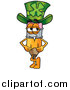 Clipart of a Pencil Cartoon Character Wearing a Saint Patricks Day Hat with a Clover on It by Toons4Biz