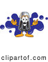 Clipart of a Pepper Shaker Mascot over a Blue Splatter by Toons4Biz