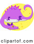 Clipart of a Purple Dragon on a Yellow Oval by Bpearth