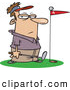 Clipart of a Red Flag in a Putter's Green, a Frustrated Golfer Standing Close by by Toonaday