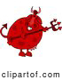 Clipart of a Red Male Devil Cow Holding a Pitchfork by Djart