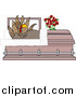 Clipart of a Shocked Turkey Bird Rising in a Casket by Djart