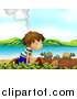 Clipart of a Smoking Volcano Behind a White Boy Watching Turtles on a Beach by Graphics RF