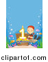 Clipart of a White Boy Revealing a First Birthday Candle in a Sunken Treasure Chest with Copyspace by BNP Design Studio