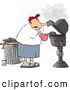 Clipart of a White Man Putting a Hamburger on a Barbecue (BBQ) Grill by Djart
