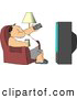 Clipart of a White Man Sitting on a Couch, Channel Surfing the TV, and Drinking Beer by Djart