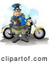 Clipart of a White Motorcycle Policeman Filling out a Traffic Citation/Ticket Form by Djart