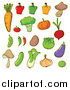 Clipart of Cartoon Vegetables by Graphics RF