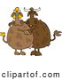 Clipart of Male and Female Brown Cows Dancing Together by Djart