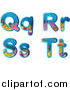 Clipart of Reef Themed Alphabet Letters Q Through T by Graphics RF