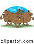 Clipart of Three Goofy Chubby Cows on Pasture by Djart