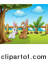 Clipart of White and Brown Bunny Rabbits Under a Tree by Graphics RF